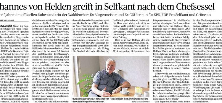 Johannes von Helden im Interview in der Heinsberger Zeitung